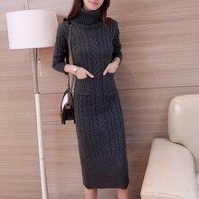 цены HaoRu New Women's Knitting Dress Winter 2017 Autumn Fashion Thicker Warm Turtleneck Slim Knitted Pullovers Long Sweater Female