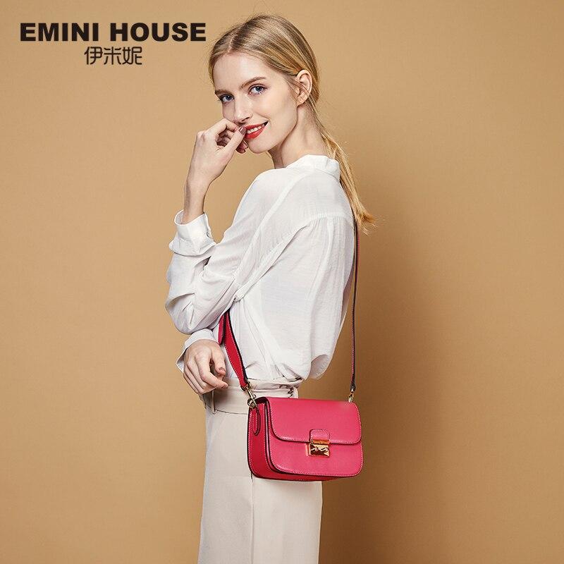EMINI HOUSE Vintage Flap Padlock Bags Split Leather Women Shoulder Bag Fashion Crossbody Bags High Quality