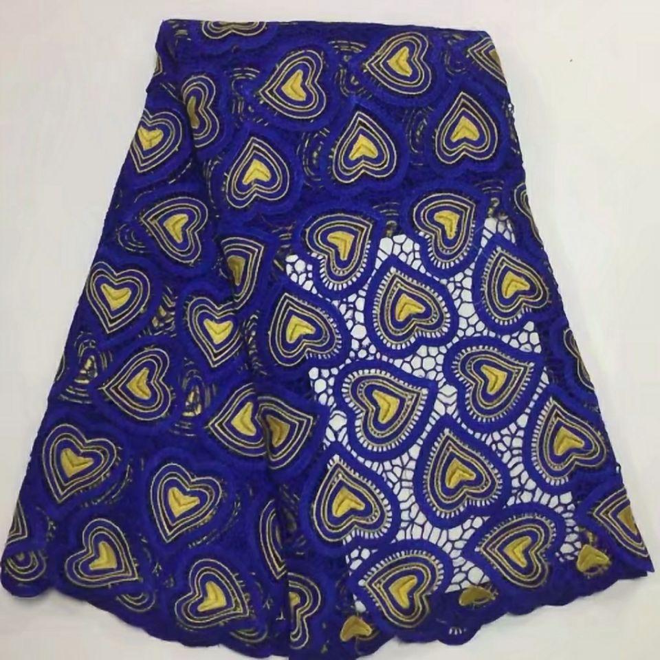 5 Yards/pc populaire bleu royal africain soluble dans l'eau dentelle et jaune coeur style broderie dentelle tissu pour vêtements BW145-1