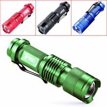 LED Flashlight Mini Zoom Tourch Led CREE Q5 2000LM Waterproof 3 Modes Zoomable Torch AA 14500 battery Flashlights 4 colors