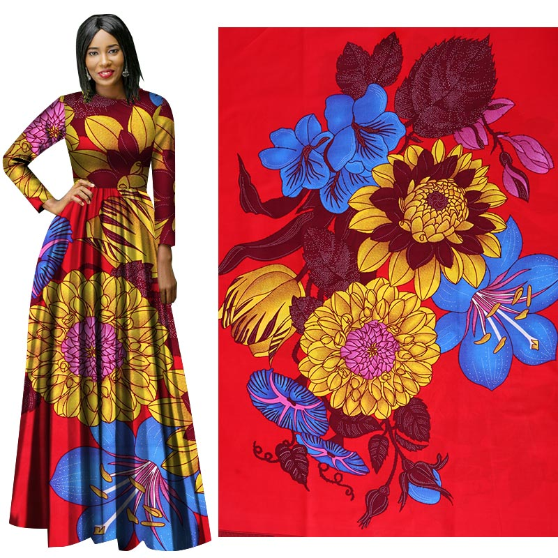 Me-dusa 2019 Latest flowers African Print Wax Fabric 100% cotton Hollandais Wax DIY Dress Suit cloth 6yards/pcs High quility(China)