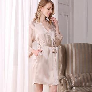 Image 3 - Hot sale autumn 100% natural nightwear 2 pieces robe gown sets women noble Nightdress Gown sets women silk sleepwear