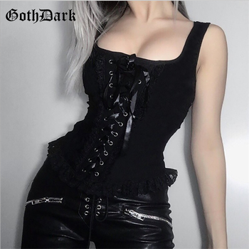 Goth Dark Grunge Tank Tops Gothic Transparent Hollow Out Crisscross Bandage Top Summer Sexy Fashion Mesh Ruch Ruffle Punk Tops embroidered mesh ruffle bardot top