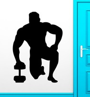 Bodybuilding Wall Stickers Muscled Sports Gym Vinyl Decal FitnessCentre Window Glass Decor Home Decor Wall Sticker For Room