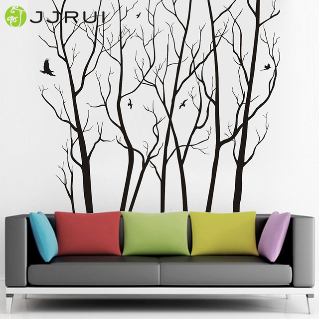 Jjrui Large Wall Decor Vinyl Tree Forest Decal Sticker Diy Home Art Decals