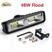 OKEEN Luz LED de trabajo superbrillante, faro antiniebla para coche todoterreno de 48W, camión, Tractor, barco, remolque, 4x4, SUV, ATV, 12V