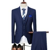 Jacket Pant Vest 2017 New Men Business Slim Suits Sets Wedding Dress Three Piece Suit Blazers