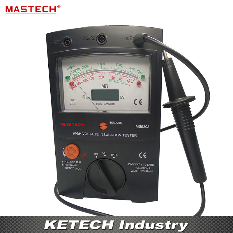 MASTECH MS5202 2500V Digital/Analogue Megger Pointer Insulation Resistance Tester Max to 100000Mohm digital megger insulation resistance tester sound and light alarm mastech ms5201
