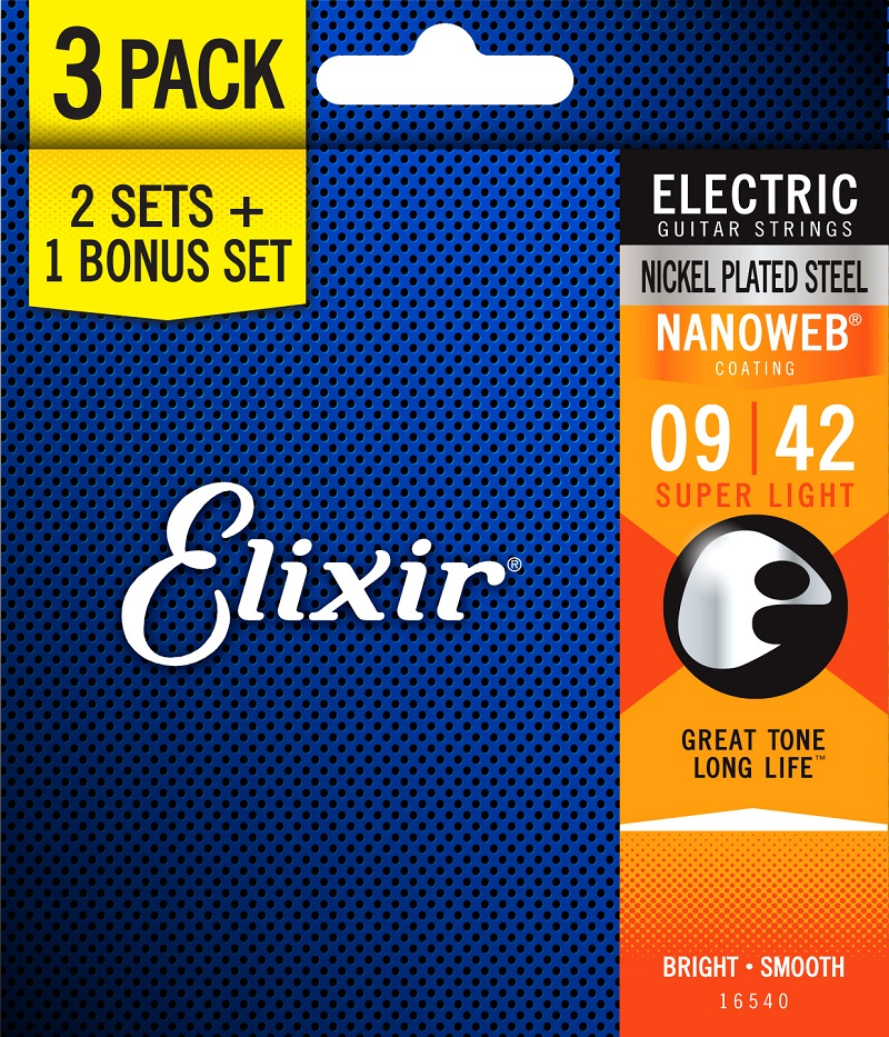 Elixir Strings Electric Guitar Strings, 3 Sets for the Price of 2 classical guitar strings set 6 string classic guitar clear nylon strings silver plated copper alloy wound alice a108