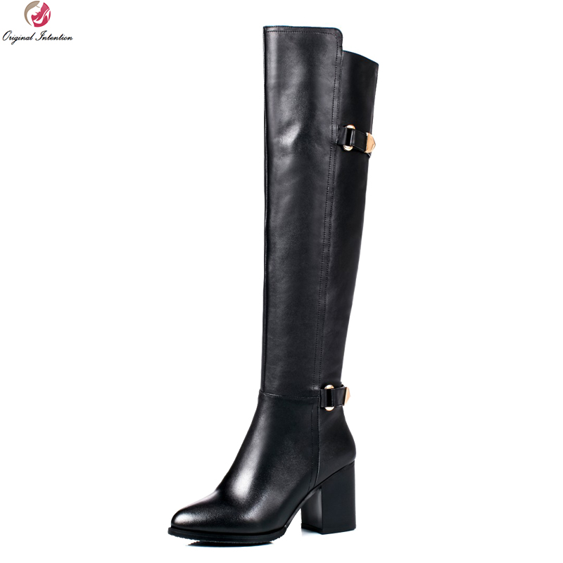 Original Intention High-quality Women Knee High Boots Real Leather Pointed Toe Square Heels Boots Shoes Woman US Size 4-10.5 original intention high quality women knee high boots nice pointed toe thin heels boots popular black shoes woman us size 4 10 5