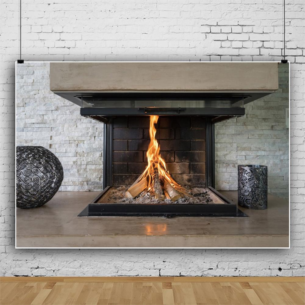 Modern Luxury Fireplace Living Room Burning Fire Interior Photo Backdrops Photographic Backgrounds Photocall Photo Studio in Background from Consumer Electronics