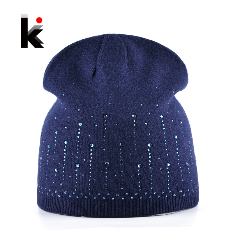 2017 Female Diamond Beanies Hat Autumn And Winter Knitted Rabbit Wool Cap Women Rhinestone Knitting Skullies Hats For Ladies skullies hot sale female tide leather braids knitted cap autumn and winter women s curling ear warmers headgear 1866784