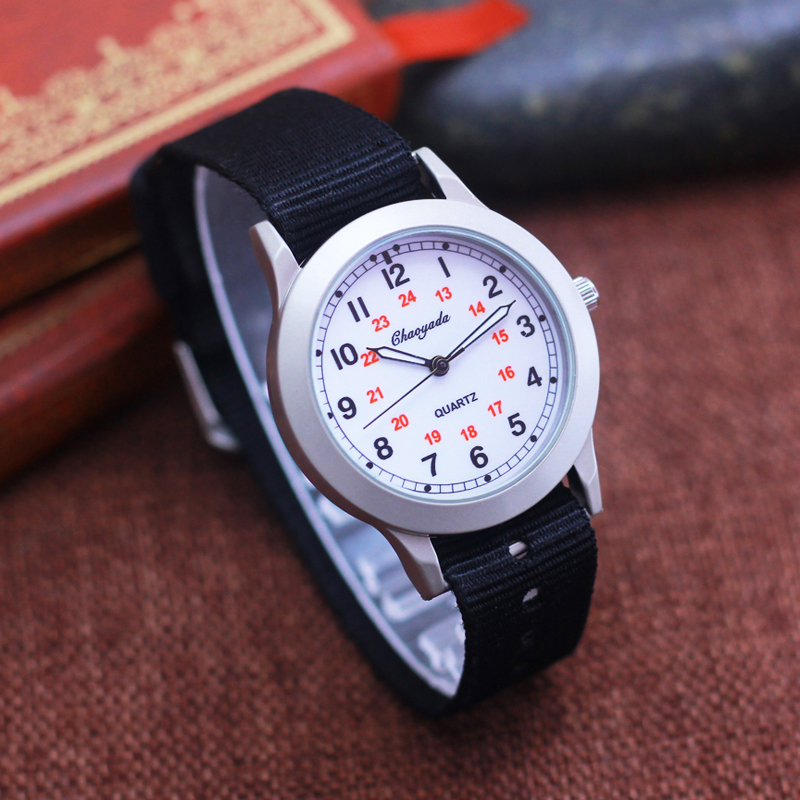 2019 Chaoyada New 24 Hours Children Boys Girls Sports Canvas Quartz Wrist Watches Little Kids Students Simple Electronic Watches