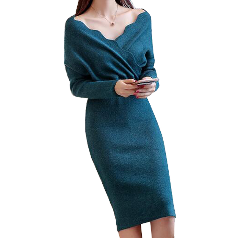 29d9818be8e3 Casual Slim Midi Dress Women Winter 2018 New Arrival Knitted Sweater ...