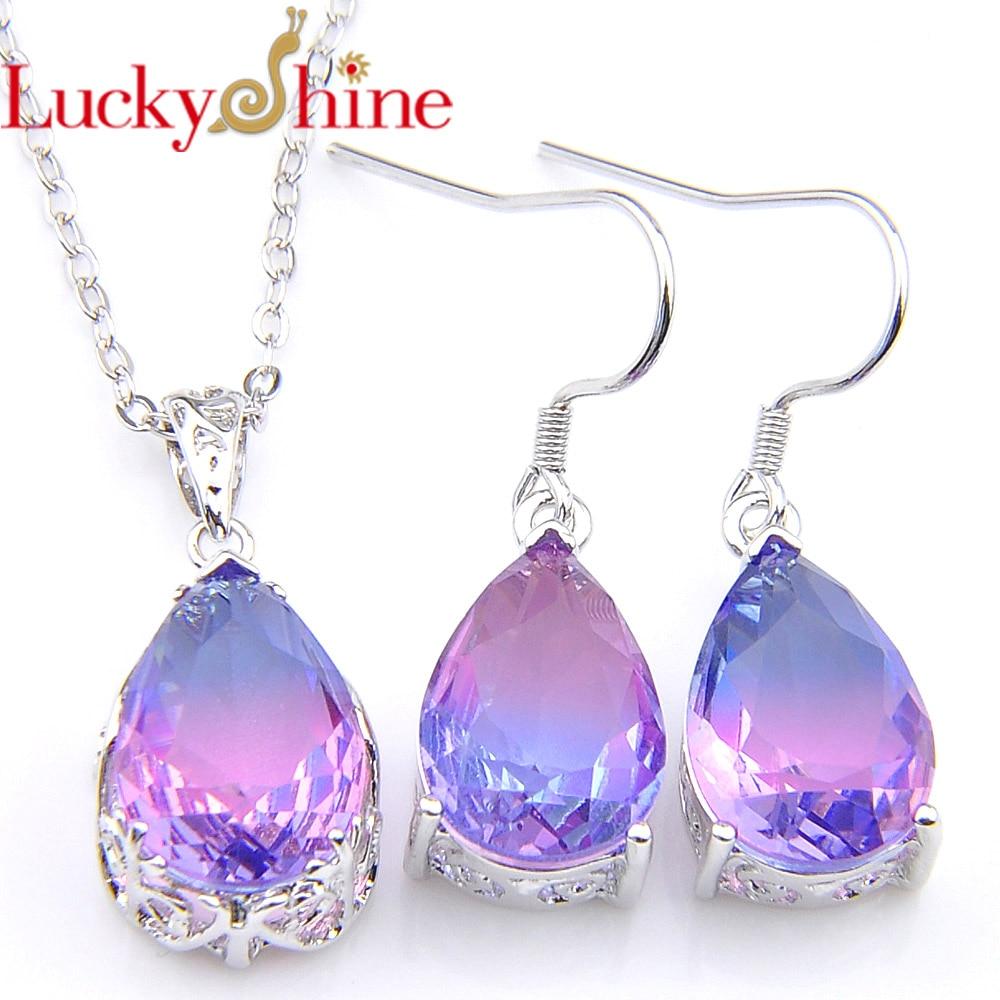 Luckyshine 925 Silver Jewelry Sets Water Drop Tourmaline Cubic Zirconia Mystic Purple Pendant Necklace Earring Women jewelle