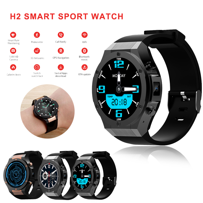 H2 android ios 1G+16GB Smart watch 1.39 inch mtk6580 SmartWatch phone 3G wifi GPS 5M heart rate nano SIM GSM For Men Ladies