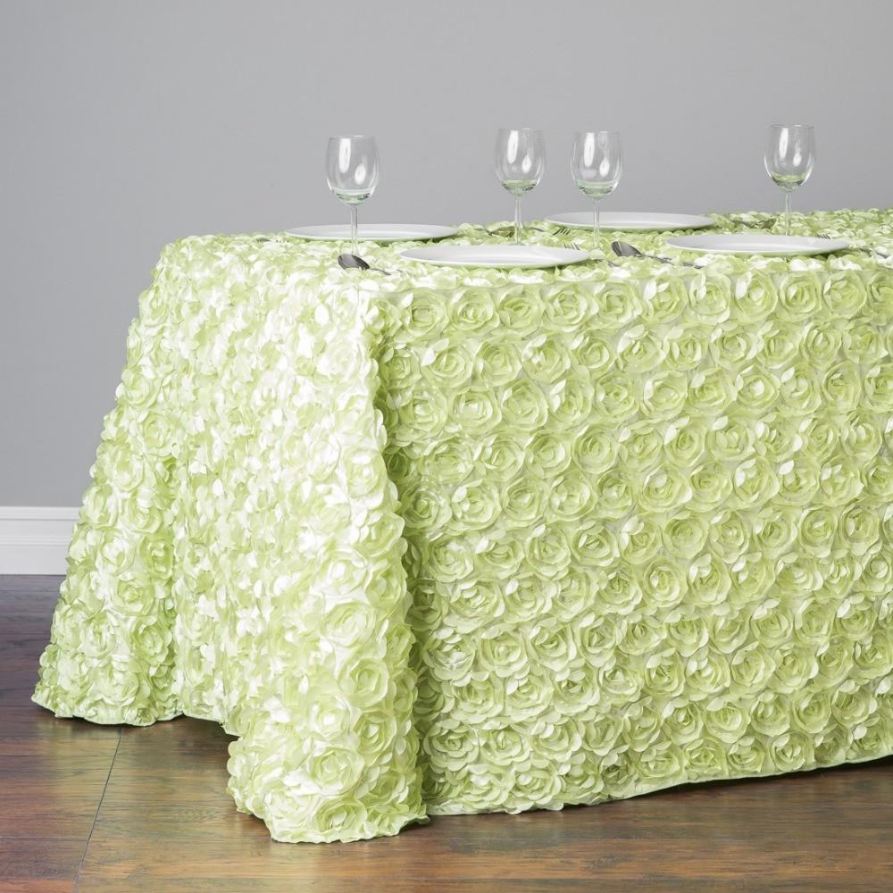 HK DHL Satin-Feel 220*390cm Multi Color Rectangle Polyester Rosette Tablecloth for Wedding, 5/Pack
