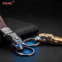 Car Leather Keychain LED Light Keyring Auto Leopard Key Ring For Mazda Jeep Volvo Honda Toyota