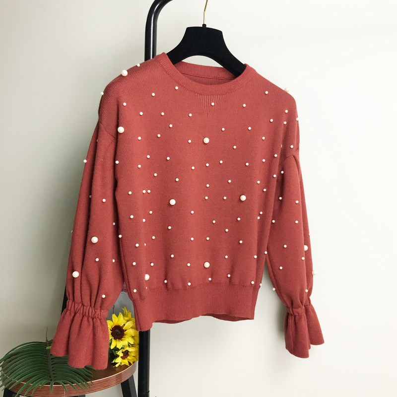 Fashion Flare Sleeve Faux Pearls Pullover Sweater Loose Jumper White O-Neck Cute Women Knitted Sweaters ...