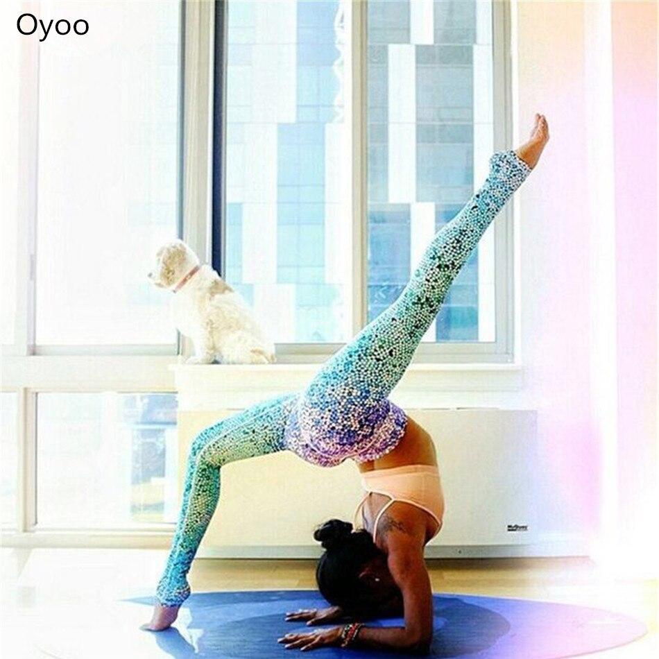 Oyoo Haute Qualité Deux Tone Étoiles points dazzle Violet Bleu Ombre Sirène De Yoga Pantalon Mince Rêver Gym Sport Fitness Leggings