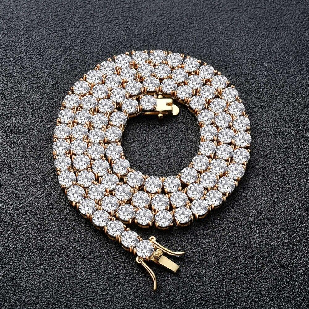 Bnrevente 3 4 5mm cuivre AAA Zircon Hip Hop plein glacé sur une rangée chaîne de Tennis collier bijoux pour les danseurs rappeurs