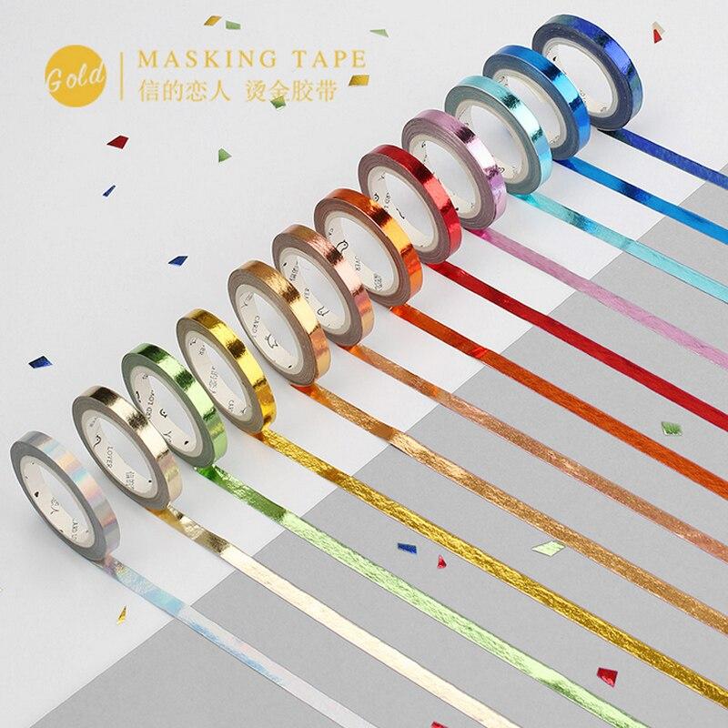 Narrow Bronzing Colourful Washi Tape DIY Decoration Scrapbooking Planner Masking Tape Adhesive Tape Kawaii