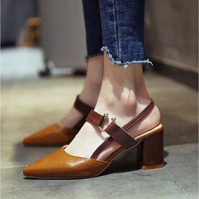 5879b1d931c75b SLHJC 2018 Autumn Summer Pumps Women Fashion Pointed Toe High Heels Leather  Sandals Chunky Heels Metal Buckle Shoes 7 cm Heel