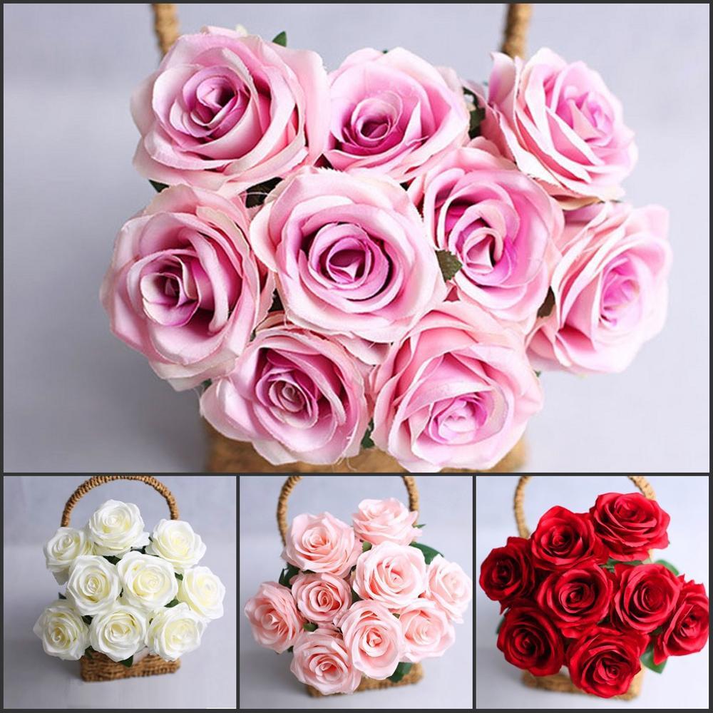 Neue Hohe Qualität Blume 9 Kopf blumen Rosen Hochzeit Künstliche Dekoration BLUMEN bouquet Champagner weiß lila rot rosa