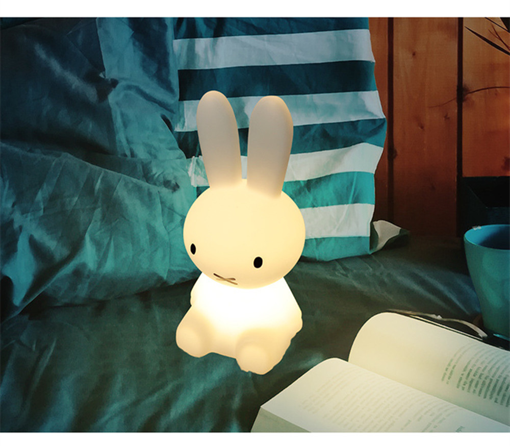 SuperNight Cartoon Rabbit LED Night Light Dimmable Rechargeable Touch Sensor Bedroom Bedside Table Lamp for Baby Kids Toy Gift (36)