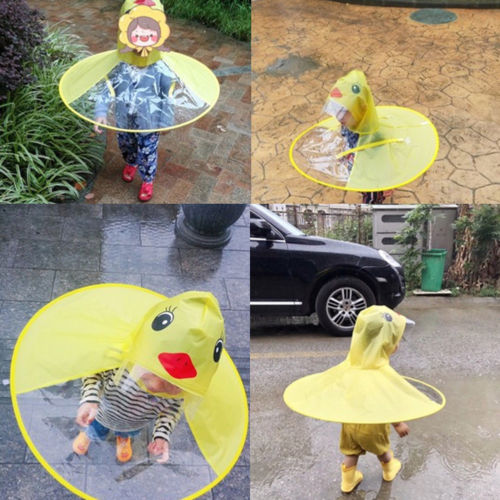 Cartoon Rain Coat Cartoon Duck Shape Children Kids Umbrella Hat Raincoat Outdoor To Help Digest Greasy Food Home