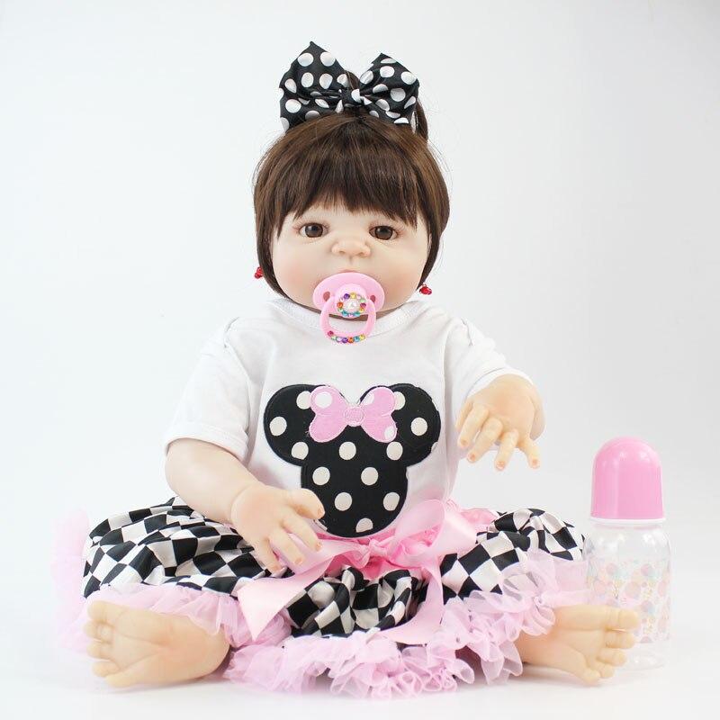 55 см всего тела силикона Reborn Baby Doll игрушки, реалистичные 22 ''мягкий винил новорожденных принцесса для маленьких девочек Bonecas Bebe живой купатьс...