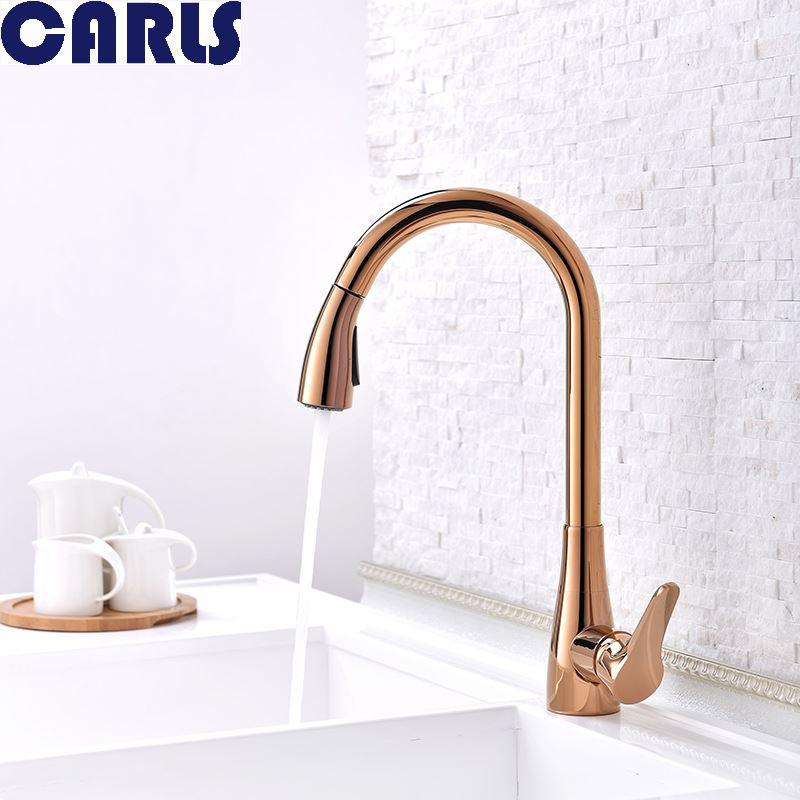 CARLS En Laiton peut s'étirer rotatif robinet de cuisine cuisine évier robinet bassin rose or Xicai sous le comptoir robinet télescopique F3020-2