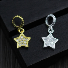 Real 925 Sterling Silver Jewelry DIY Accessories Five-pointed Star Charm Pendant Suit Bracelet Necklace Fine Making 0238