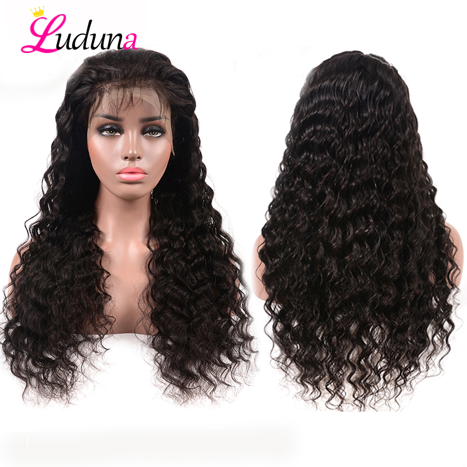 Human Hair Lace Wigs Lace Wigs Luduna Peruvian Straight 360 Lace Frontal Wig Pre Plucked With Baby Hair 150% Density Lace Front Human Hair Wigs Remy Hair 8-24