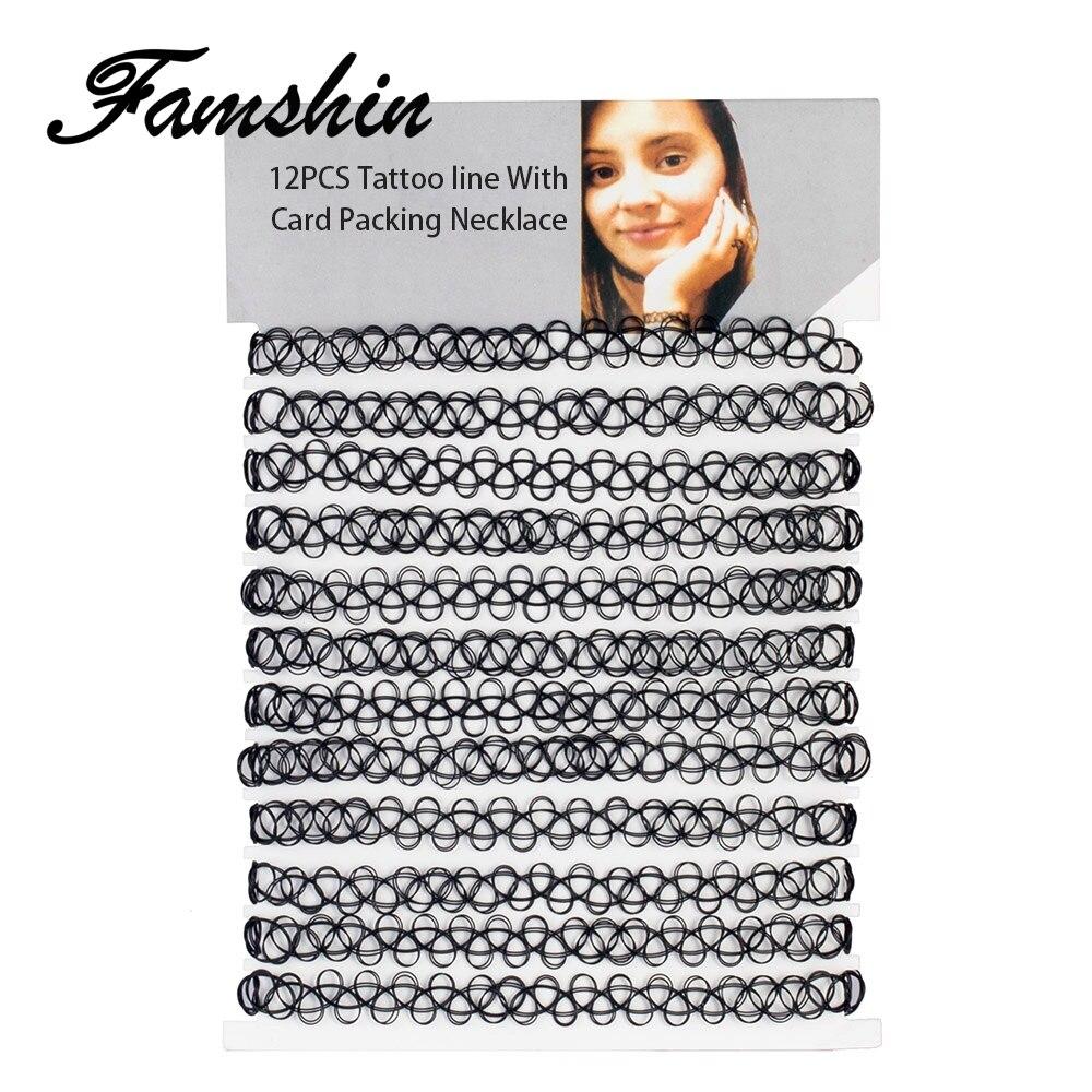 FAMSHIN 12 шт хит продаж винтажный хиппи Чокер-тату из эластичного материала ожерелье эластичный чокер ожерелье рыболовная линия тату ожерелье