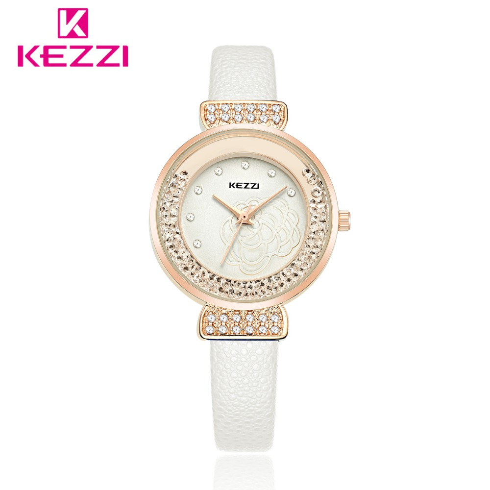 Kezzi Women Watches Leather Strap Quartz Watch Rhinestone Dress Watch ladies Waterproof Clock Wristwatch relogio feminino стоимость
