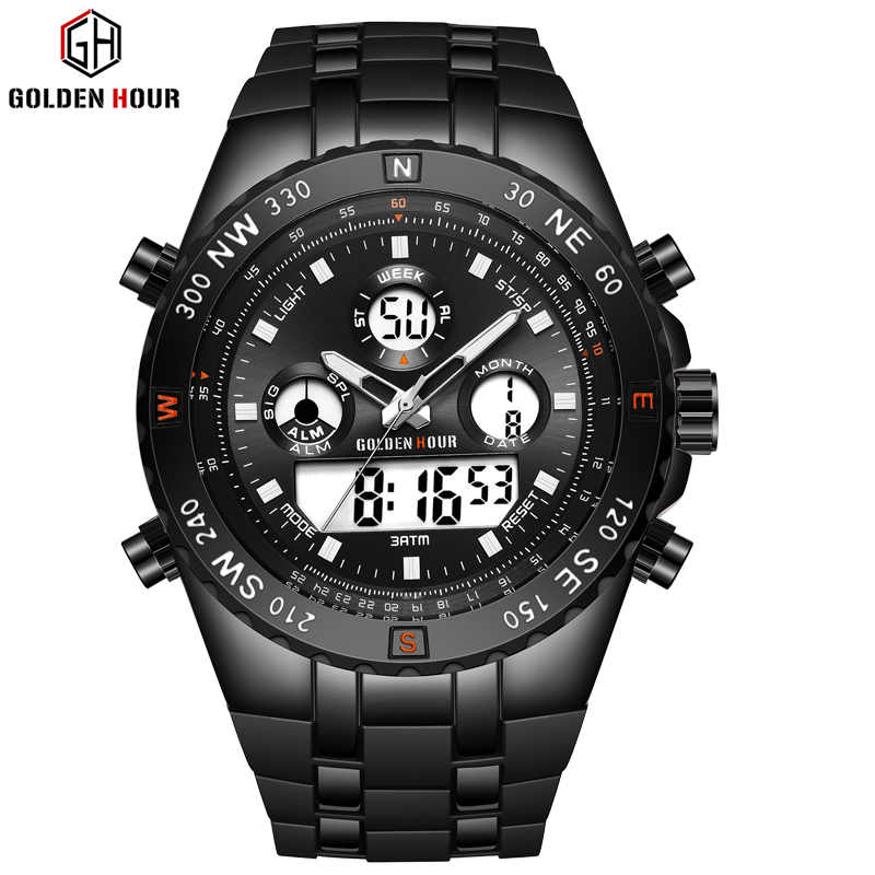 GOLDENHOUR Fashion Sports Analogue Watch Digital Dual Time Waterproof Chronograph Black Rubber Strap Male Clock Reloj Hombre