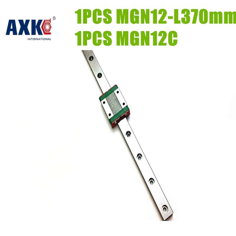 AXK free shipping 12mm cnc linear stage MGN12 370mm + MGN12C ball bearing steel Linear Guide way length customized axk mr12 miniature linear guide mgn12 long 400mm with a mgn12h length block for cnc parts free shipping
