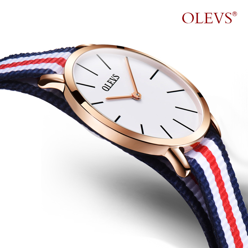 OLEVS Simple Women Quartz Watches Multicolor Stripe Thin Ladies Wristwatches Canvas Strap Two Hands Clock Watch for Girl Student stylish multicolor stripe pattern bucket hat for women