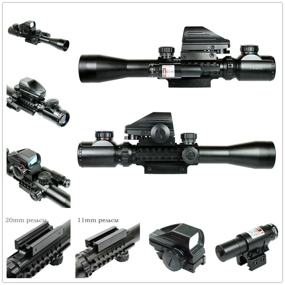 Military Combo C 3-9X40 EG Red Green Illuminated Riflescope Airsoft Weapon Rifle Scope With Red Laser + Holographic Dot Sight 1set riflescope hunting optics rifle 3 9x40 illuminated red green laser riflescope w holographic dot sight airsoft weapon sight