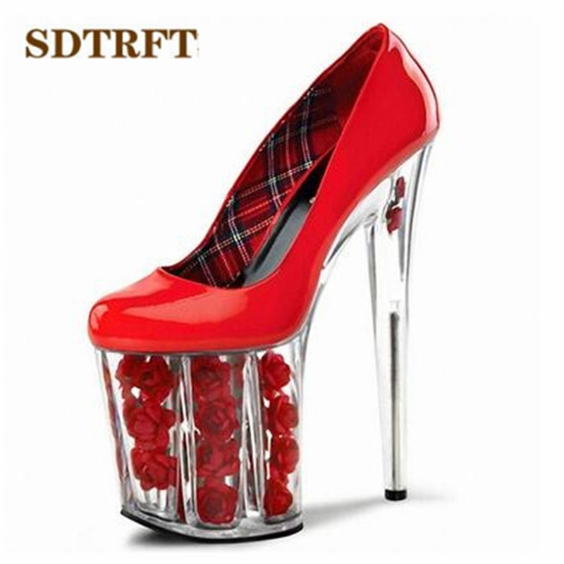 SDTRFT nightclub shoes woman spring/autumn Round Toe 20cm high heels platform wedding/bride zapatos mujer pumps,Big 35-45 46 sdtrft spring autumn zapatos mujer plus 35 45 46 ankle strap shoes woman 18cm square thick high heel round toe platform pumps
