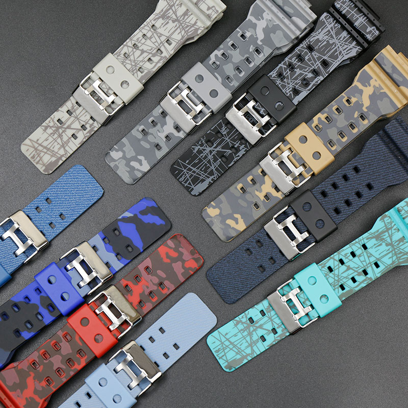 Camouflage Resin <font><b>Watch</b></font> <font><b>Strap</b></font> Applicable for Casio <font><b>G</b></font>-<font><b>SHOCK</b></font> GA-100 110 GD-120 Men's <font><b>Watch</b></font> <font><b>Strap</b></font> Accessories image