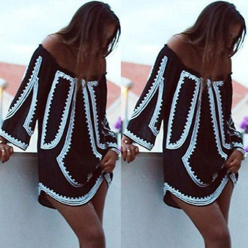 Boho Сексуальная Для женщин с длинным рукавом вечерние летние пляжные короткие мини-платье