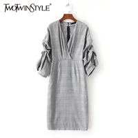 TWOTWINSTYLE Autumn Midi Long Dress Female Plaid Prom Women Dresses Vintage Puff Sleeve V Neck Sexy Elegant Clothes Large Size