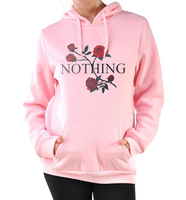 Autumn Winter Fleece Tracksuits Pullovers Kawaii Rose Print Hoodies Women 2017 New Arrival Funny Nothing Letter