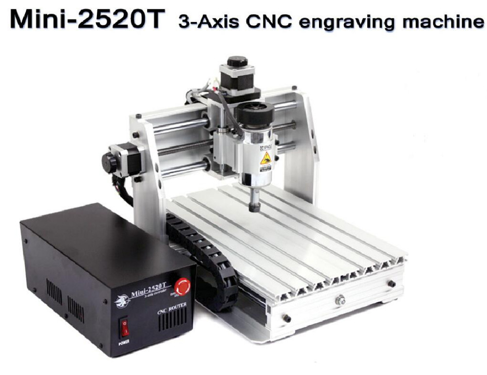 Diy Mini CNC Engraving Machine Laser Engraving Pcb PVC Milling Machine Wood Router 2520T  3 Axis 200W