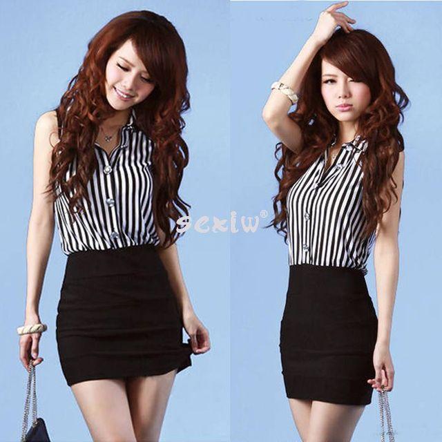 Korea Women's Temperament Sleeveless Sexy Lace Chiffon Stripe Casual Mini Dress
