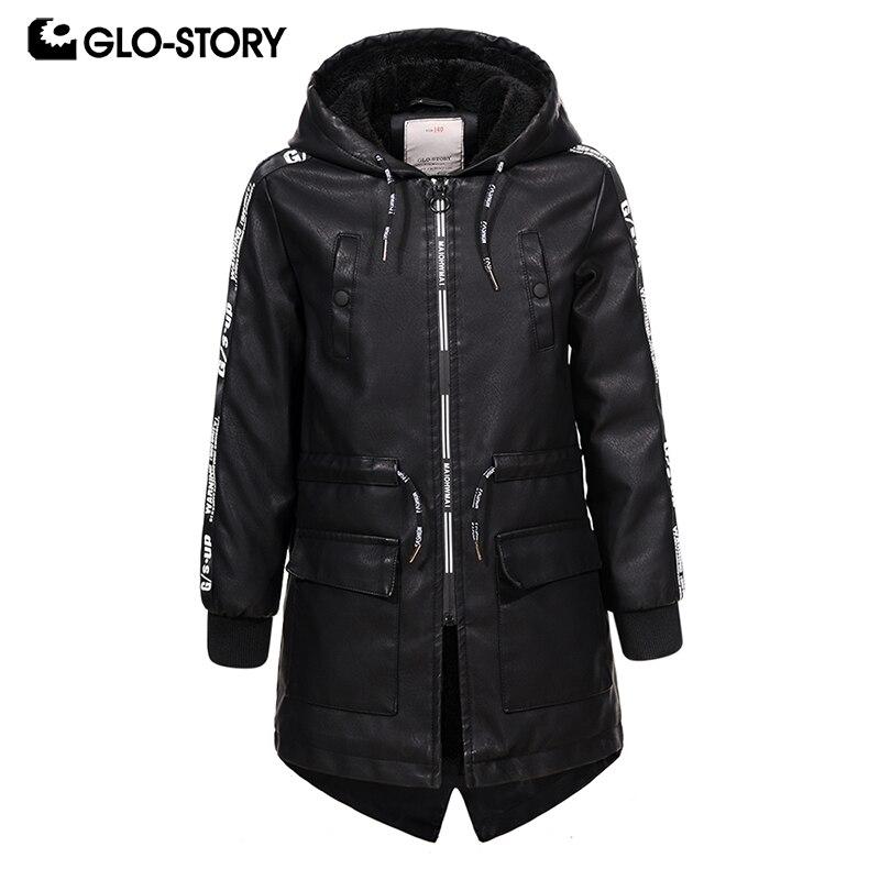 GLO STORY в европейском стиле, Длинные Куртки из искусственной кожи для мальчиков Детская Зимняя шерстяная Верхняя одежда с подкладкой, ветровки 7445