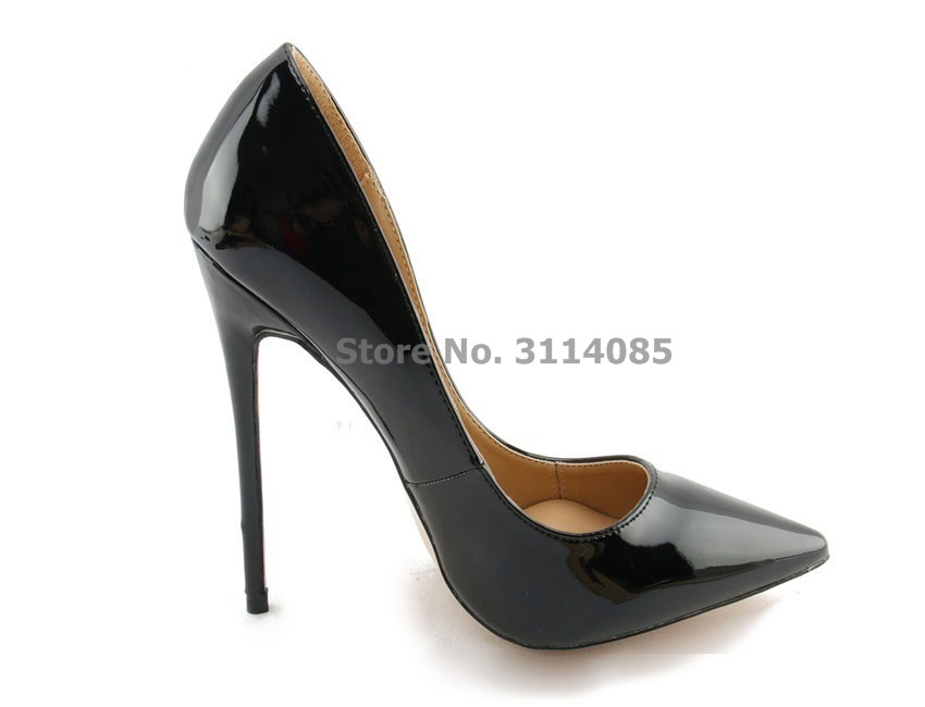 Chic dames noir miroir cuir bout pointu chaussures mince extrême talon haut gladiateur chaussures mariage pompes 10 cm 12 cm talon US10 - 3