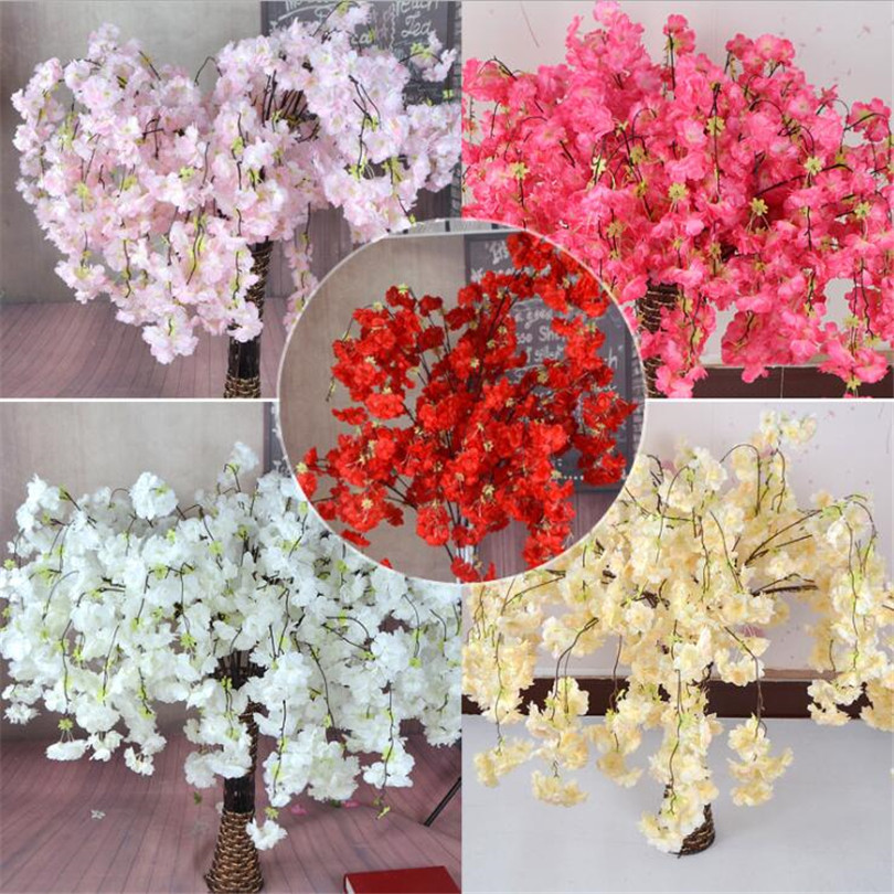 10pcs Artificial Cherry Blossom Branch Flower Wall Hanging Sakura 145cm for Wedding Centerpieces Artificial Decorative Flowers